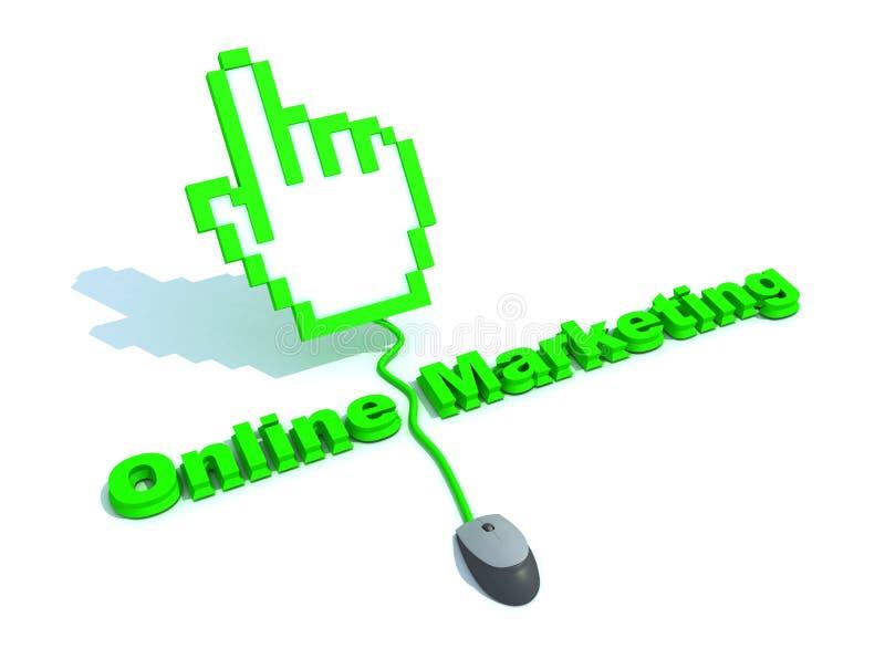 Texto en línea de la comercialización con el cursor de la mano stock de ilustración