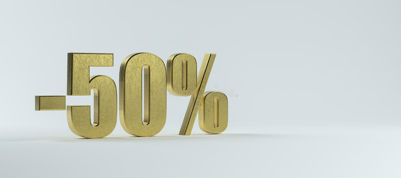 Texto en latón -50% sobre fondo blanco stock de ilustración