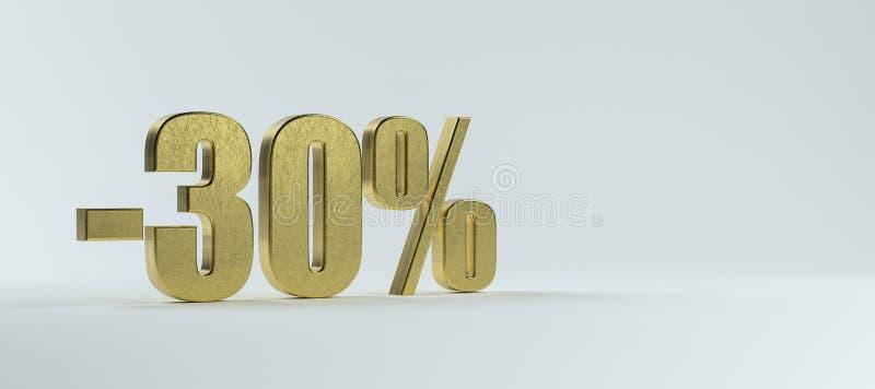 Texto en latón -30% sobre fondo blanco ilustración del vector