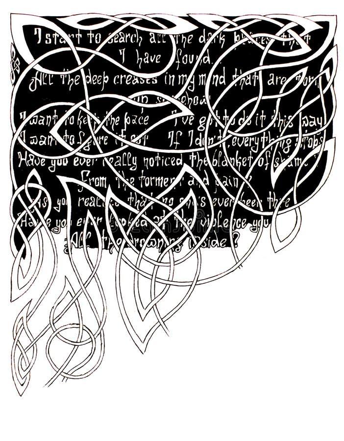 Texto en un fondo negro para los modelos ornamentales Dibujo de la pluma del gel fotos de archivo