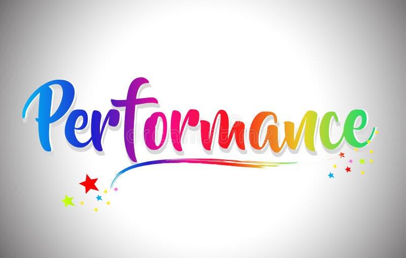 Texto escrito à mão da palavra do desempenho com cores do arco-íris e Swoosh vibrante ilustração stock