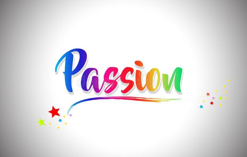 Texto escrito à mão da palavra da paixão com cores do arco-íris e Swoosh vibrante ilustração stock