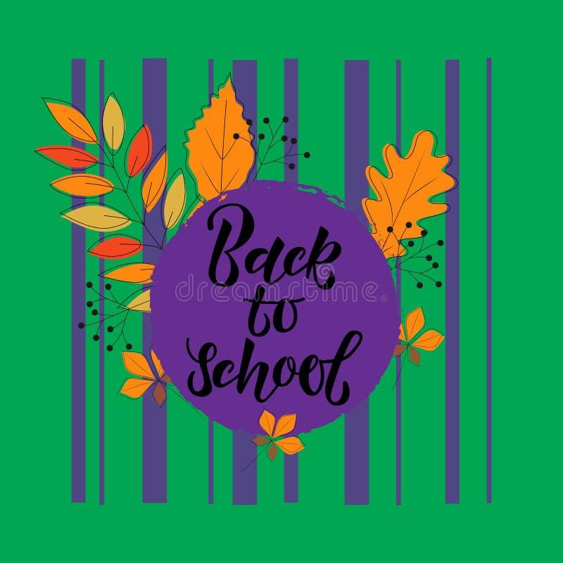 texto escrito à mão de volta à escola Folhas da laranja em um fundo verde ilustração stock