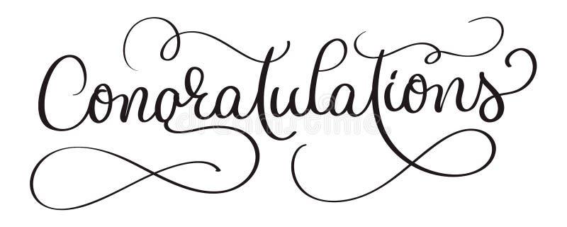 Texto escrito de la mano del vector de las letras de la caligrafía de la enhorabuena en el fondo blanco Bandera caligráfica libre illustration