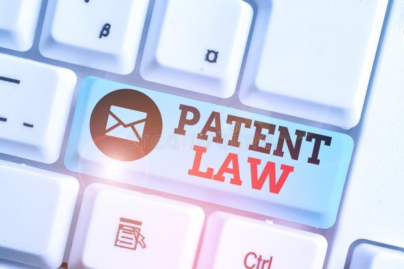 Texto escrito do texto Lei de Patentes O conceito de negócio para lidar com um inventor é o direito exclusivo de usar a sua própr foto de stock