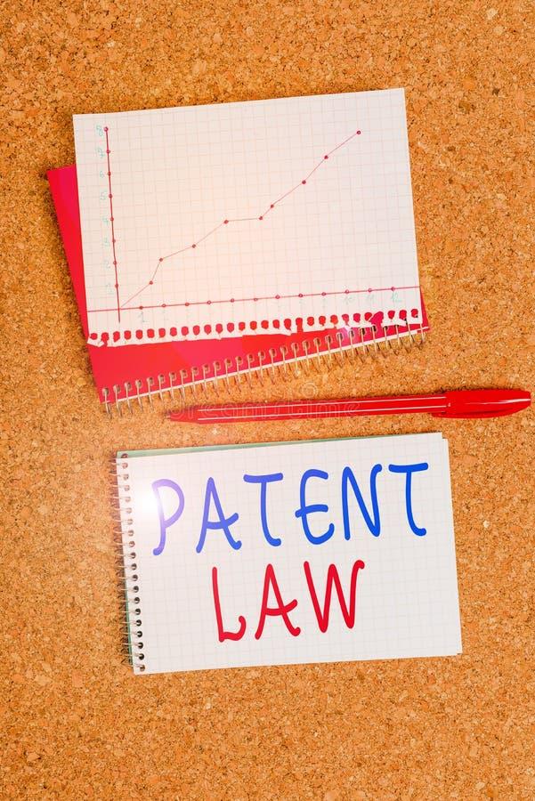 Texto escrito do texto Lei de Patentes O conceito de negócios para lidar com um inventor é o direito exclusivo de usar o próprio  imagem de stock royalty free