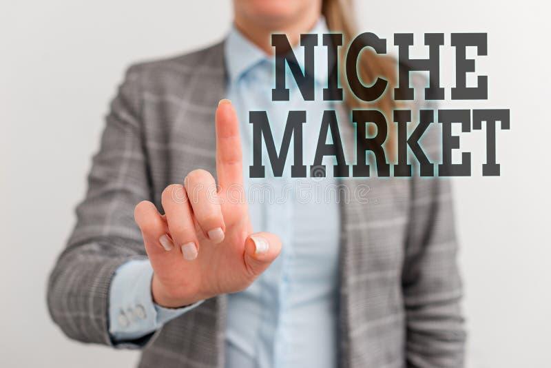 Texto escrito Niche Market Conceito comercial para o subconjunto do mercado no qual o produto específico se concentra Digital foto de stock royalty free