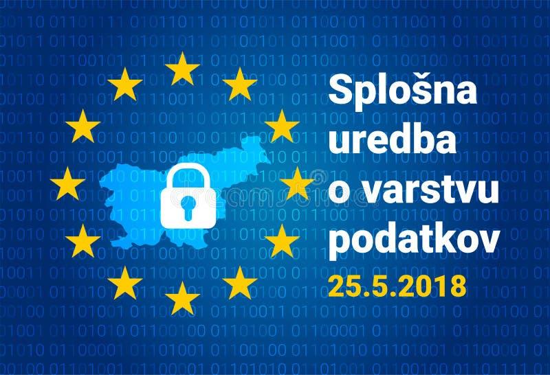 Texto esloveno, tradução inglesa - GDPR - regulamento geral da proteção de dados ilustração stock