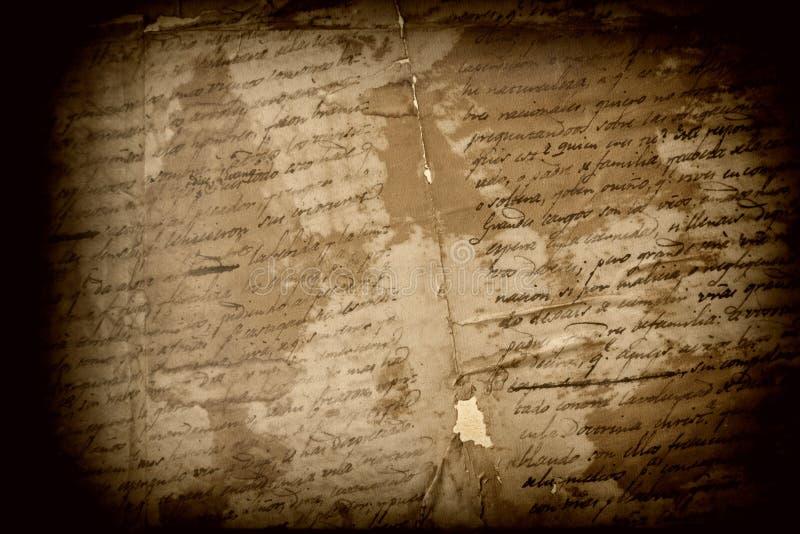 Texto español antiguo foto de archivo