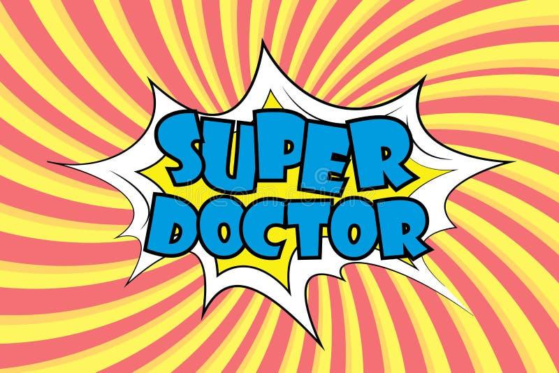 Texto estupendo del doctor en estilo cómico ilustración del vector