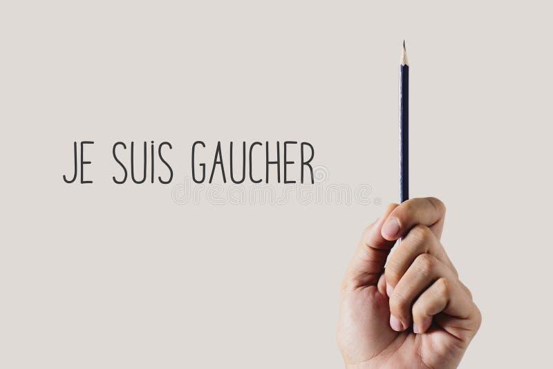 Texto eu sou canhoto em francês foto de stock