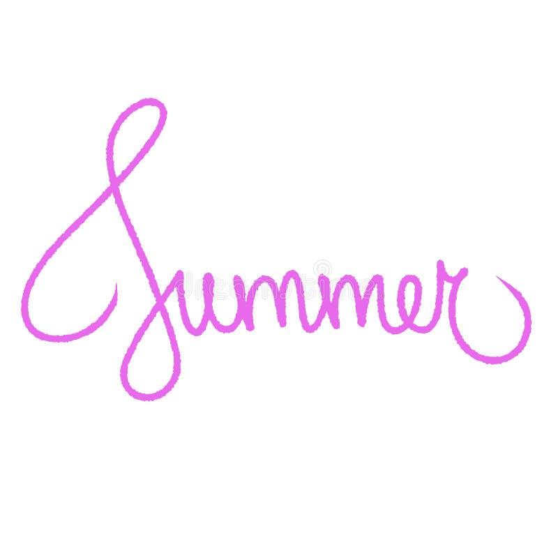 Texto exhausto de las letras de la tipografía de la mano del verano Caligrafía rosada creativa para la materia textil, el saludo  stock de ilustración