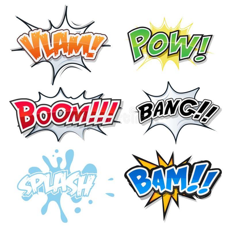 Texto, explosiones y estallido cómicos Art Style de la bomba ilustración del vector