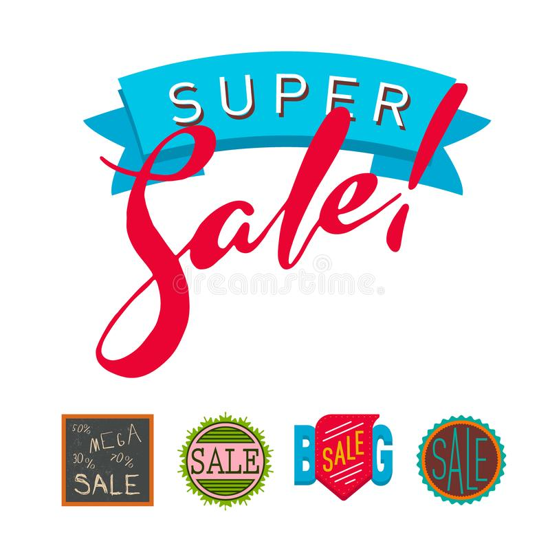 Texto extra das bandeiras do bônus da venda super na ilustração de compra tirada cor da promoção do Internet do negócio da etique ilustração stock