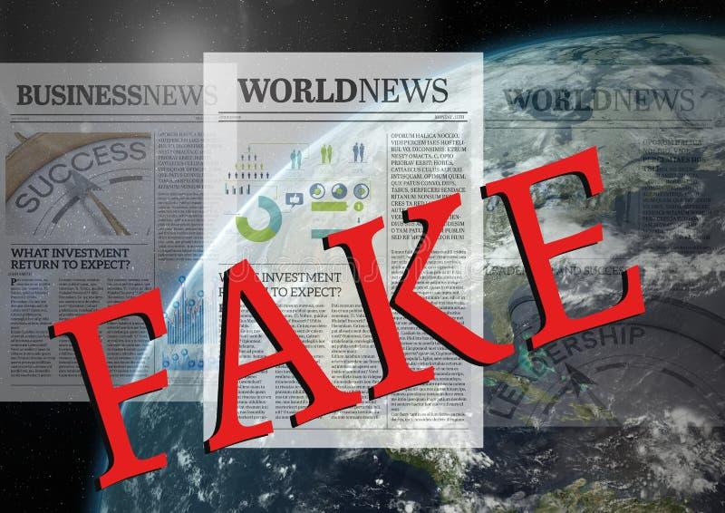 Texto falsificado sobre jornais e mundo ilustração royalty free