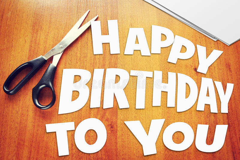 Texto feliz aniversário Sucatas de papel fotos de stock