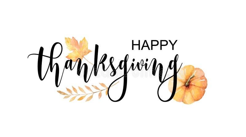 Texto feliz da ação de graças com as folhas e os ramos de outono da aquarela do vetor isolados no fundo branco ilustração stock