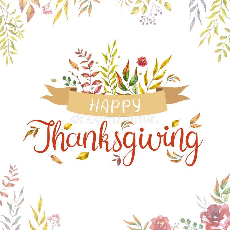 Texto feliz da a??o de gra?as com as folhas e os ramos de outono da aquarela isolados no fundo branco ilustração do vetor