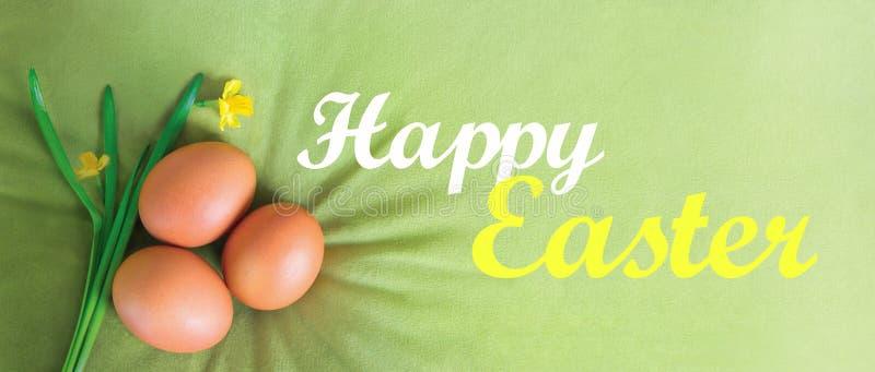 Texto feliz da Páscoa, rotulando em um veludo, em um fundo verde-oliva, verde com ovos alaranjados e em uns narcisos amarelos Car imagens de stock royalty free