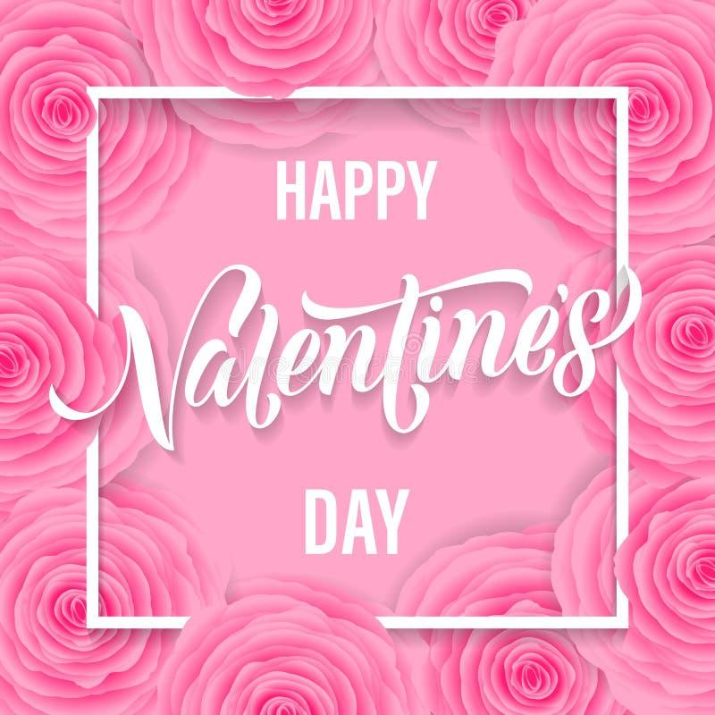 Texto feliz da rotulação do dia de Valentim no fundo cor-de-rosa do rosa do teste padrão de flor para o projeto de cartão Feriado ilustração royalty free