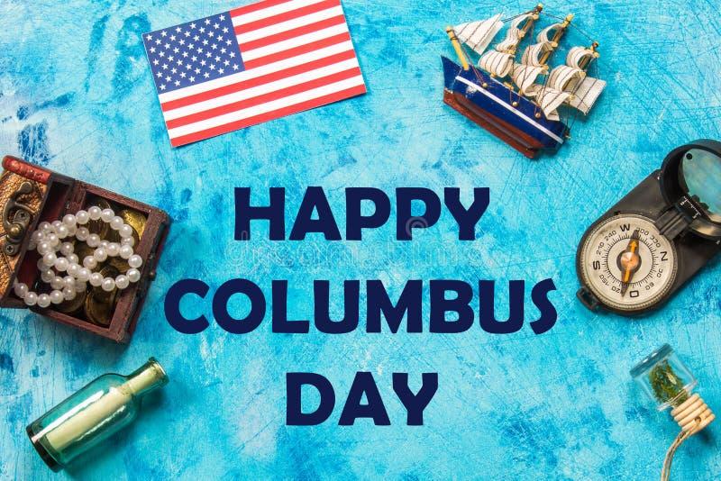 Texto feliz de Columbus Day Concepto del día de fiesta de los E.E.U.U. El descubridor de América Estados del día de fiesta imagenes de archivo