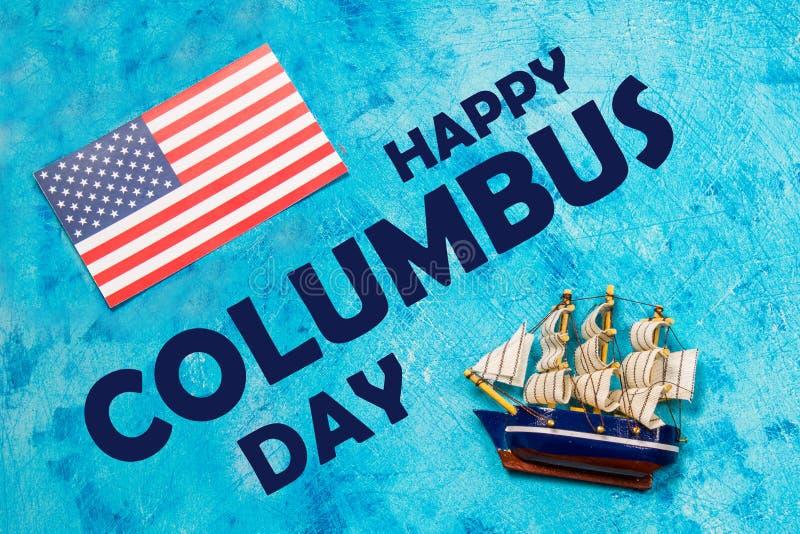 Texto feliz de Columbus Day Concepto del día de fiesta de los E.E.U.U. El descubridor de América Estados del día de fiesta fotografía de archivo