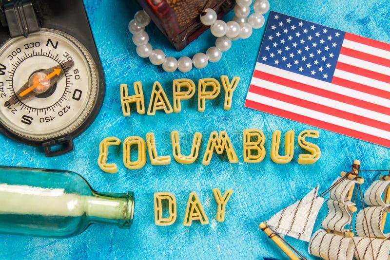 Texto feliz de Columbus Day Concepto del día de fiesta de los E.E.U.U. El descubridor de América Estados del día de fiesta imágenes de archivo libres de regalías