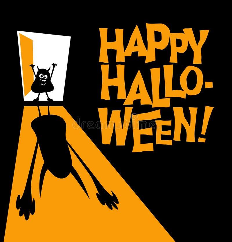 Texto feliz de Dia das Bruxas com o zombi pequeno que molda a sombra assustador enorme ilustração do vetor