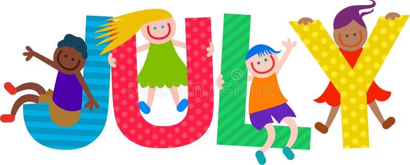 Texto feliz de julho das crianças ilustração royalty free