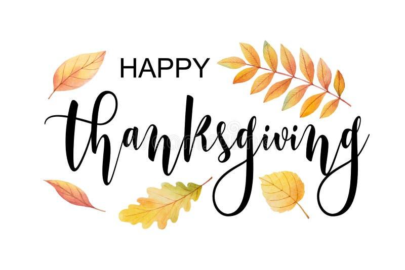 Texto feliz de la acción de gracias con las hojas y las ramas de otoño de la acuarela aisladas en el fondo blanco libre illustration