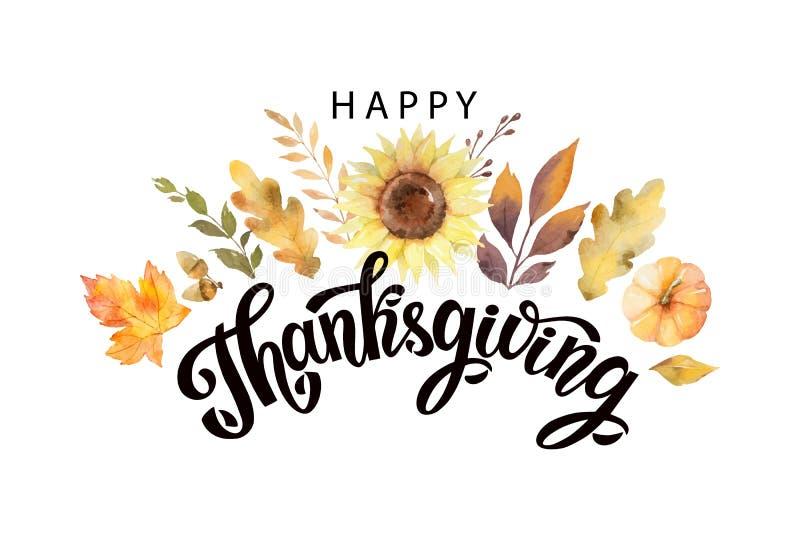 Texto feliz de la acción de gracias con las hojas y las ramas de otoño de la acuarela del vector aisladas en el fondo blanco libre illustration
