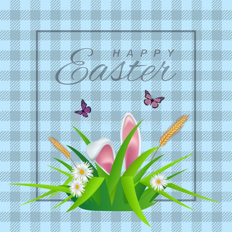 Texto feliz de Pascua en fondo celular con la hierba, las margaritas y los oídos de conejo para la tarjeta de felicitación pascua ilustración del vector