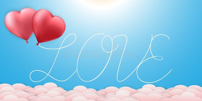 Texto feliz del amor de día de San Valentín con la tarjeta del sistema de la bandera de los fondos de los globos del corazón de l stock de ilustración