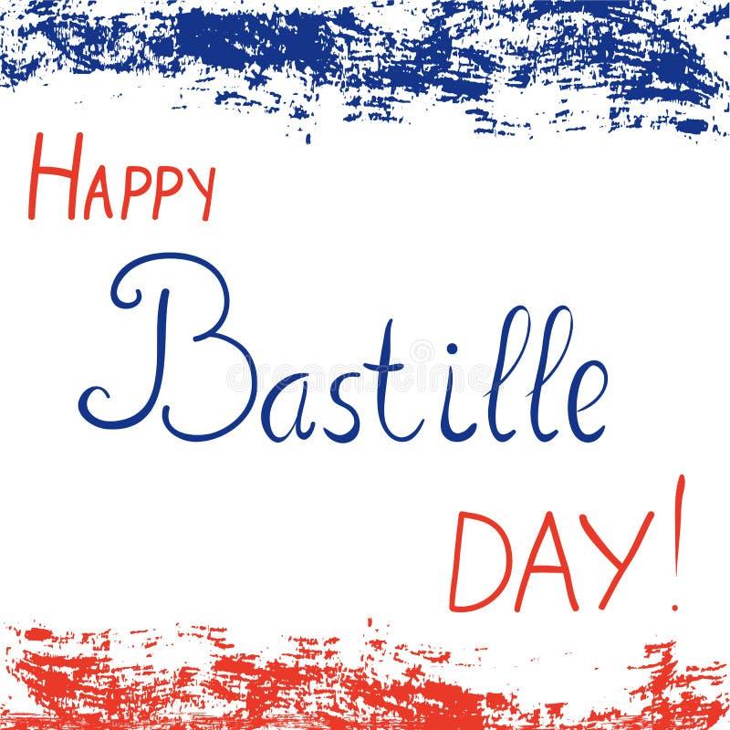 Texto feliz del día de Bastille para la festividad nacional de Francia ilustración del vector