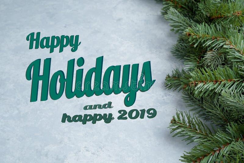 Texto feliz del día de fiesta escrito en fondo de la Navidad imagenes de archivo