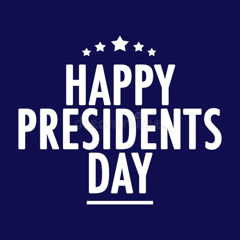 Texto feliz del día de los presidentes ilustración del vector
