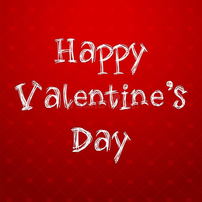 Texto feliz del día de tarjetas del día de San Valentín en fondo rojo stock de ilustración
