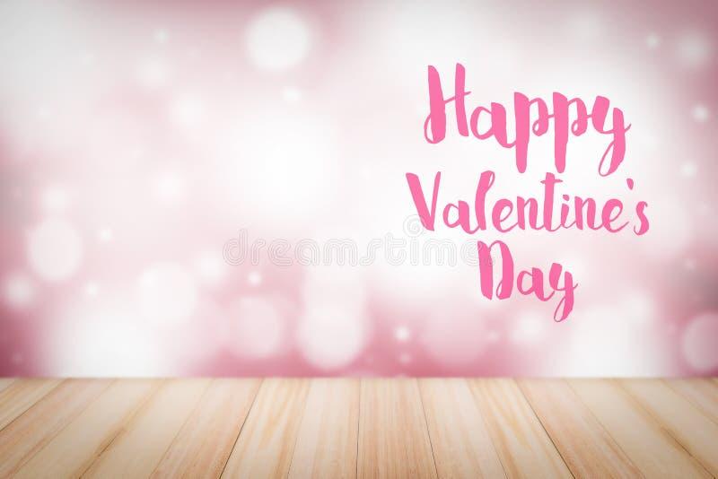 Texto feliz del día del ` s de la tarjeta del día de San Valentín en fondo de la falta de definición Puede ser utilizado en anunc imagenes de archivo