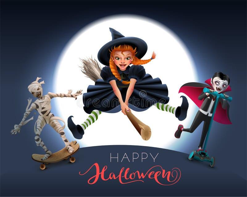 Texto feliz do cartão de Dia das Bruxas Bruxa na vassoura, na mamã e no vampiro na noite ilustração do vetor