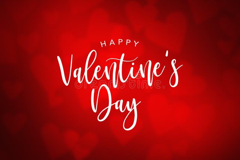 Texto feliz do feriado do dia de Valentim sobre o fundo vermelho do coração ilustração stock