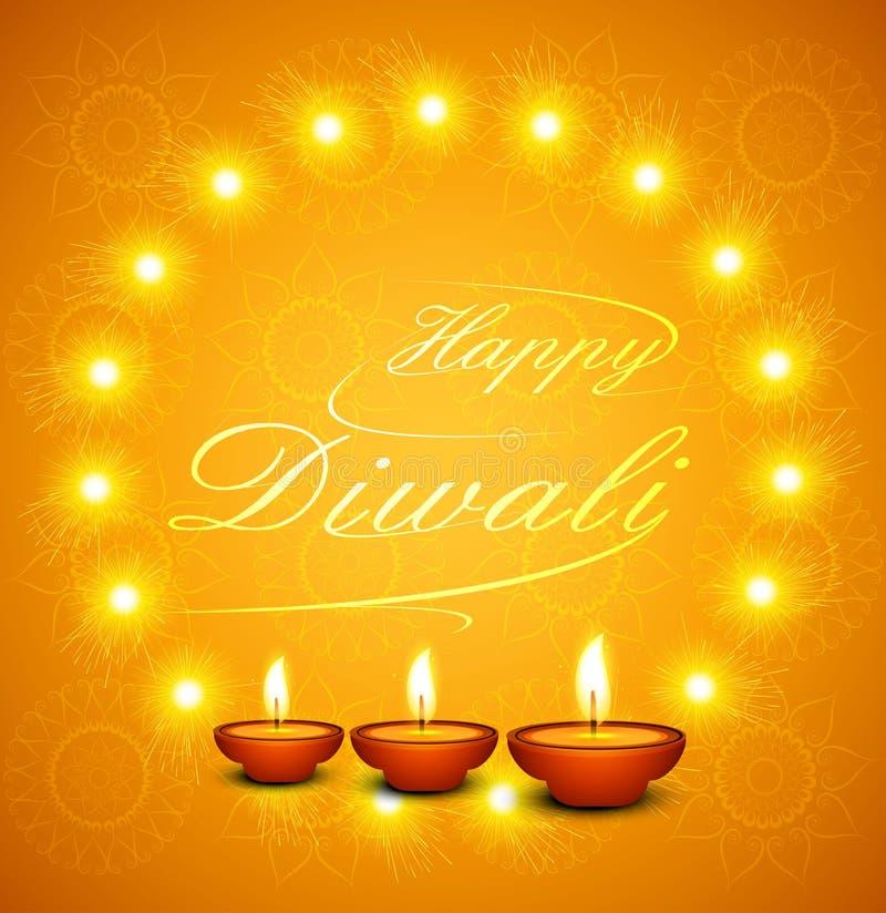 Texto feliz hermoso de Diwali para la celebración del festival ilustración del vector