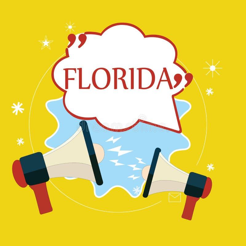 Texto Florida da escrita da palavra O conceito do negócio para o estado na região do sudeste de lugar ensolarado do Estados Unido ilustração do vetor