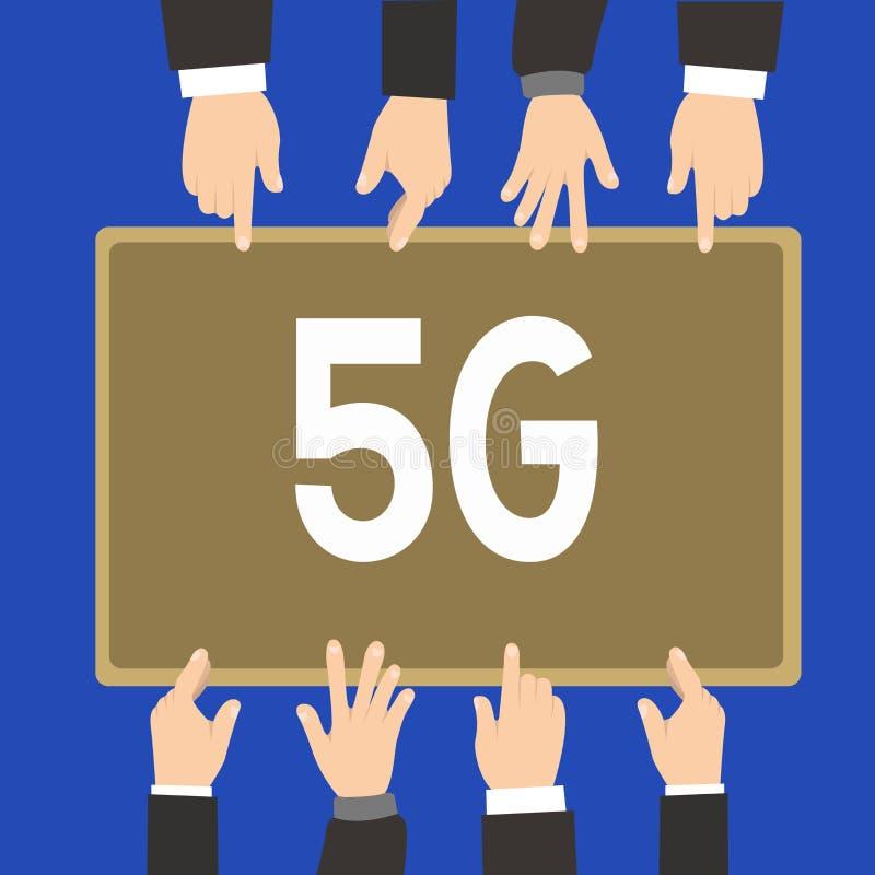Texto 5G da escrita da palavra Conceito do negócio para a próxima geração de redes móveis após a conexão da velocidade rápida de  ilustração royalty free