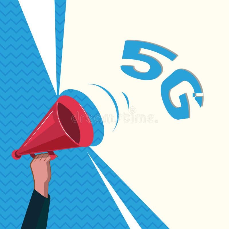 Texto 5G de la escritura de la palabra Concepto del negocio para la siguiente generación de redes móviles después de la conexión  libre illustration