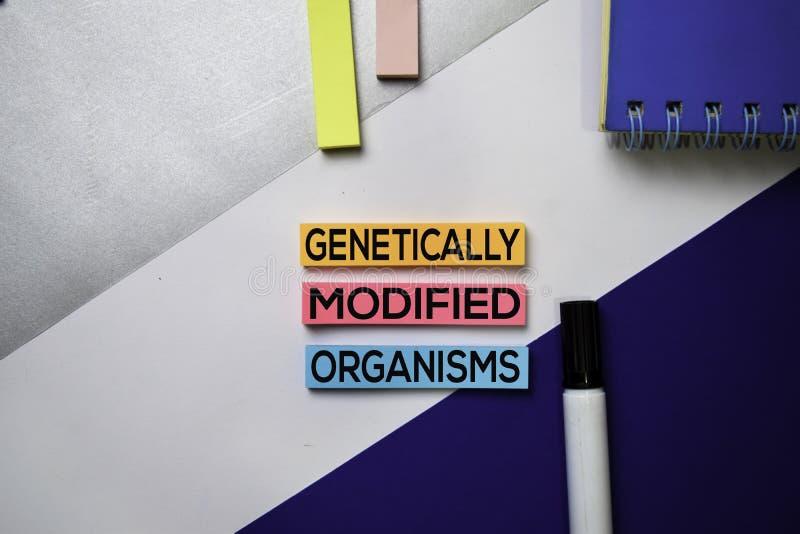 Texto Genetically alterado de GMO dos organismos em notas pegajosas com conceito da mesa de escritório da cor imagem de stock royalty free