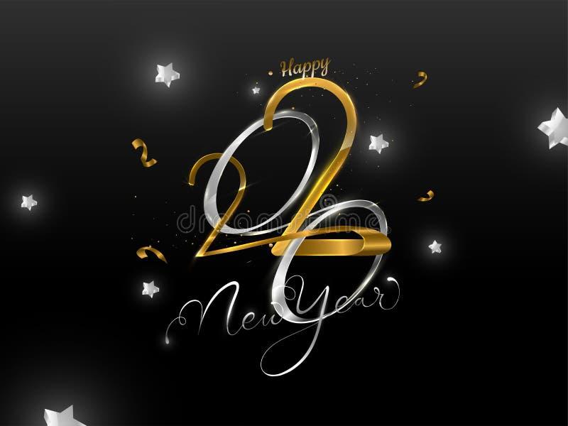 Texto Golden y Silver Feliz Año Nuevo 2020 decorado con estrellas ilustración del vector