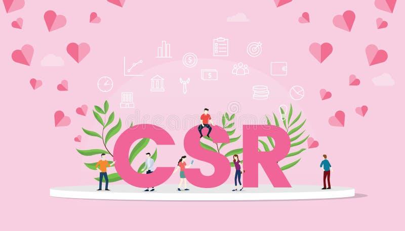 Texto grande del concepto de la responsabilidad social corporativa del Csr con el trabajo del equipo de la gente que trabaja con  ilustración del vector