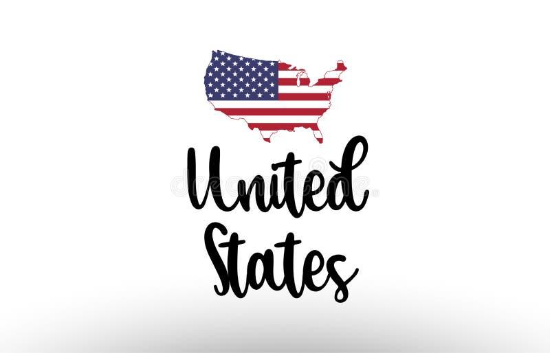 Texto grande del país de Estados Unidos los E.E.U.U. con la bandera dentro del logotipo del concepto del mapa ilustración del vector