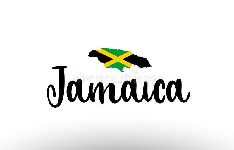Texto grande do país de Jamaica com a bandeira dentro do logotipo do conceito do mapa ilustração stock