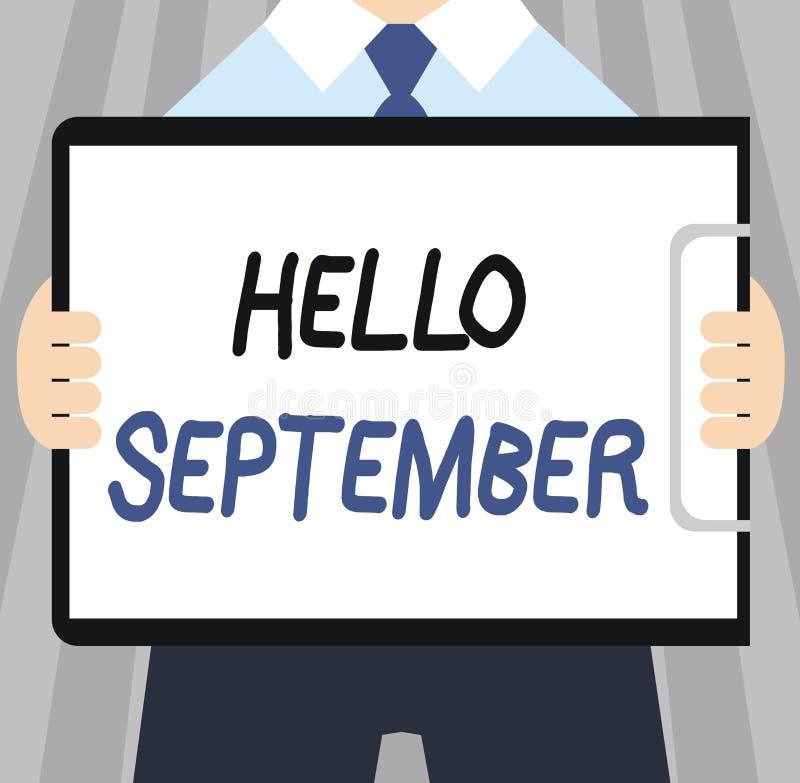Texto hola septiembre de la escritura de la palabra Concepto del negocio para con impaciencia querer una cálida bienvenida al mes stock de ilustración